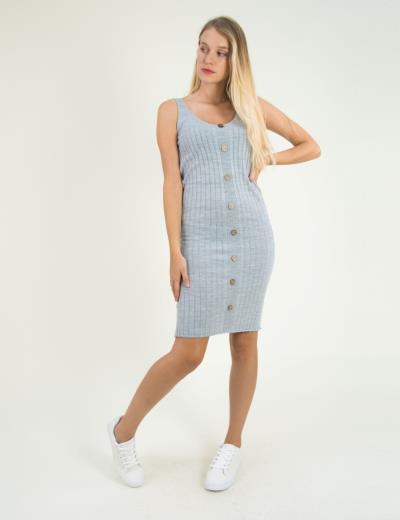 a4313a6e0571 Γυναικείο γκρι μάλλινο φόρεμα ριπ με κουμπιά 6842Y