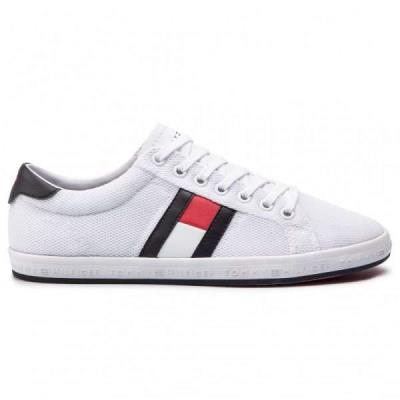 f394a092f12 Tommy Hilfiger Essential Flag Detail Λευκά Ανδρικά Sneakers FM0FM02202 White  100