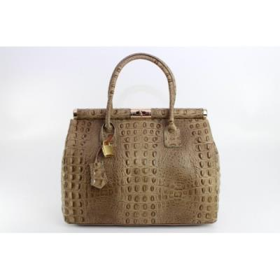 Γνήσια δερμάτινη τσάντα με κροκοδείλια εκτύπωσης σε μπεζ χρώμα. 6971bfbb64c