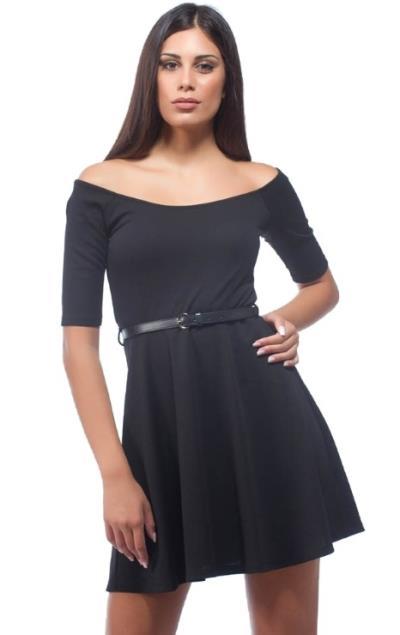 4025b3200634 Κοντό Φόρεμα σε Α γραμμή με Χαμόγελο Μαύρο Freestyle
