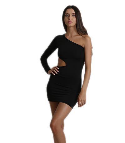 Μαύρο κοντό φόρεμα με ένα μανίκι 251768fae48
