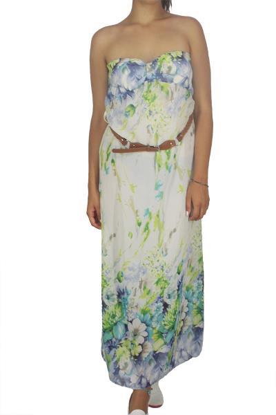 1bd03322b179 Στράπλες μάξι φόρεμα φλοράλ πράσινο-μπλε - 408875-gn