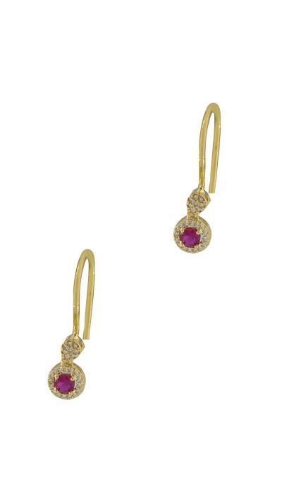 Σκουλαρίκια κρεμαστά χρυσά 14 καράτια με λευκά και κόκκινα ζιργκόν ff6e67b3e47