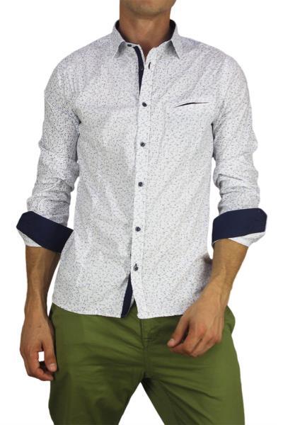 Ανδρικό πουκάμισο λευκό με γαλάζιο και γκρι πριντ - bc-s16199-wh 13be9d23cc0