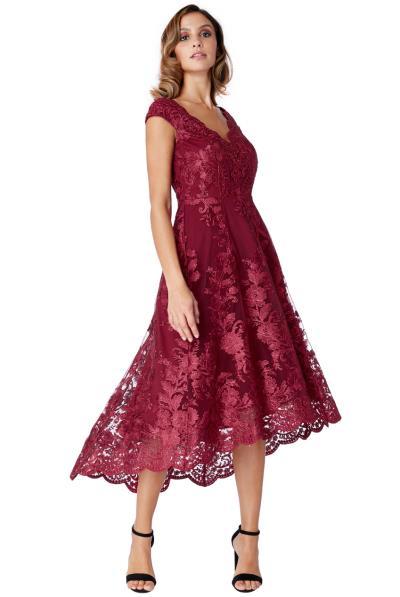 3cd556ecc819 luxe delicate φόρεμα δαντέλα high low Victoria wine
