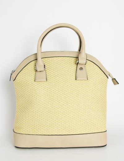 f27576792b Γυναικεία μπεζ τσάντα ώμου ψάθινη με δερματίνη 7105