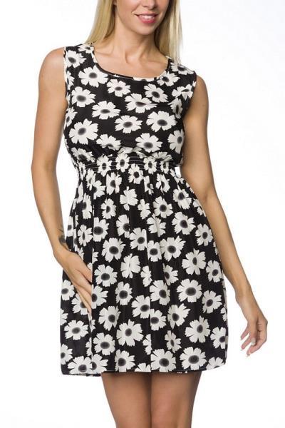 e2c38176d757 8612 AX Αέρινο μίνι φόρεμα με λουλούδια - μαύρο άσπρο