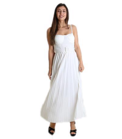 11dfdb819de9 Φόρεμα μάξι πλισέ με επένδυση (Λευκό). Άμεσα διαθέσιμο