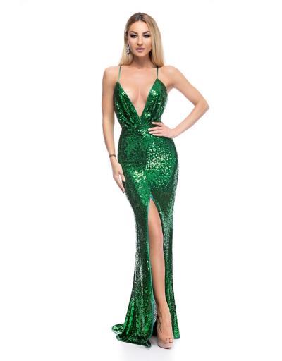 9262 RO Βραδινό μάξι φόρεμα με παγιέτες και σκίσιμο μπροστά -Πράσινο db7e55b1e41