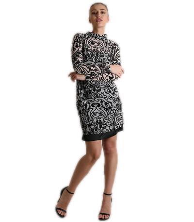 e17ed426e0cf Φόρεμα διαφάνεια με βελούδινα σχέδια (Μπεζ)