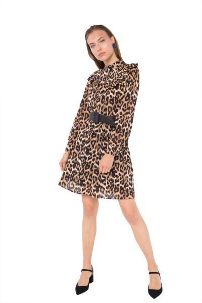 0be6889f95c4 Μίνι φόρεμα λεοπάρ με μακριά μανίκια