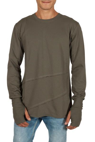 61366377e232 Humanism μακρυμάνικη μπλούζα χακί - 201808-kh