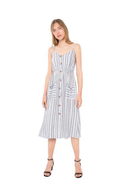 62c53a7e44e8 Μίντι φόρεμα ριγέ με κουμπιά