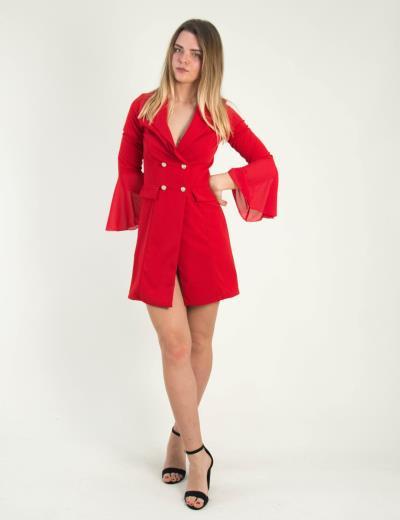 b80ce6adc48e Γυναικείο κόκκινο φόρεμα σακάκι χρυσά κουμπιά 768610Y