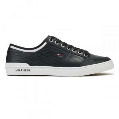 5d43fba9c9 Tommy Hilfiger Μπλε Core Corporate Δερμάτινα Ανδρικά Sneakers Tommy Hilfiger  FM0