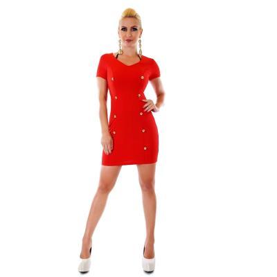 31038 SD Μίνι φόρεμα με διακοσμητικά κουμπιά - Κόκκινο 78c4c8ece71