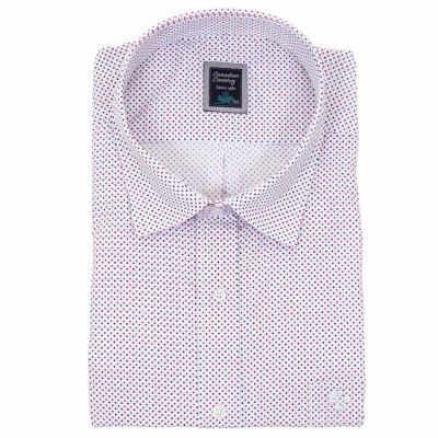 24133fb8984b Ανδρικό Πουά Μακρυμάνικο Πουκάμισο Regular Fit Canadian Shirts 1010 Λευκό