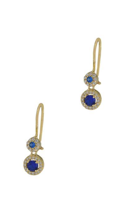 Σκουλαρίκια κρεμαστά χρυσά 14 καράτια με λευκά και μπλε ζιργκόν 987ff8cb721