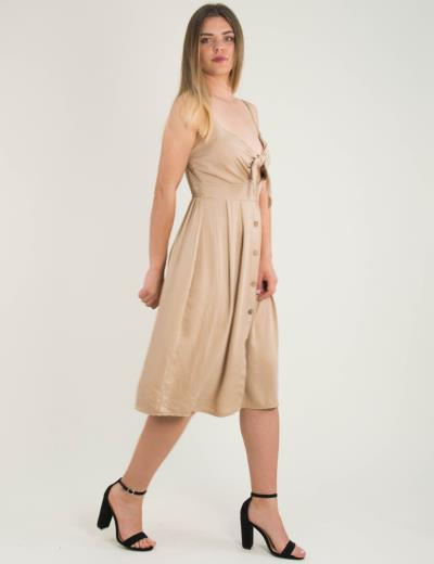 4b352efa0eda Γυναικείο μπεζ midi φόρεμα ραντάκι κουμπιά 9103D