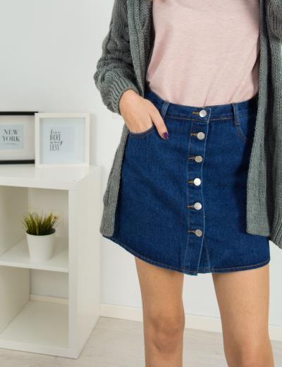Γυναικεία μπλε σκούρο τζιν φούστα ψηλόμεση κουμπιά ITA948H bba1e8d5be2
