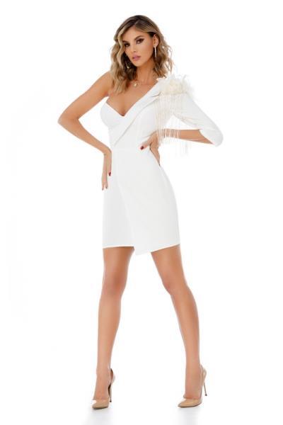 4ad55d8838f4 9307 RO Μίνι φόρεμα με φτερά και διακοσμητικές λεπτομέρειες - Άσπρο