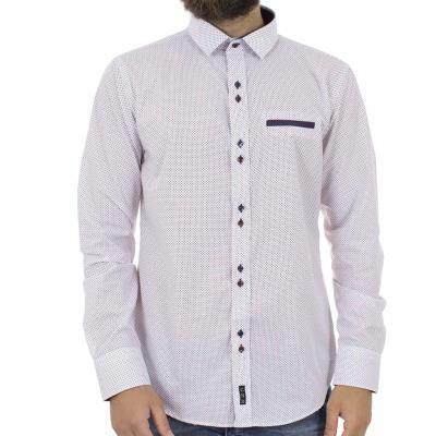 6d04a4ebbf52 Ανδρικό Πουά Μακρυμάνικο Πουκάμισο Slim Fit CND Shirts 2600-26 Λευκό