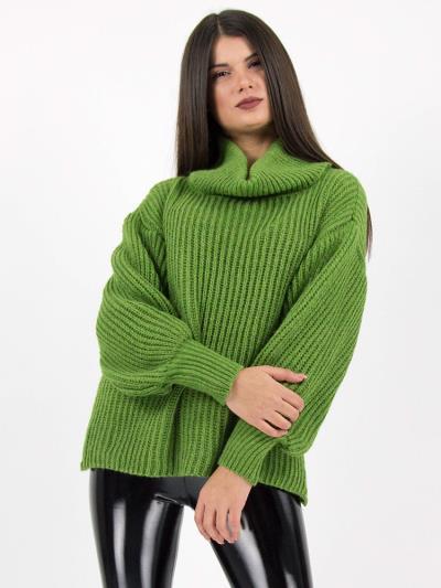 cf77ad789757 Πλεκτό πουλόβερ ζιβάγκο πράσινο