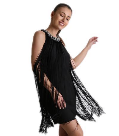 fa5038b23982 Φόρεμα μίντι με κρόσια Μαύρα (Μαύρο)