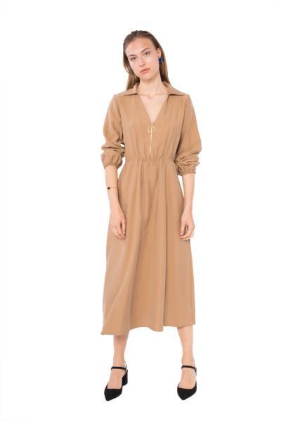 14d1aa192a98 Μίντι φόρεμα με φερμουάρ και γιακά