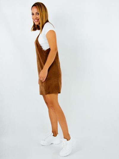 f3cfa019c1f5 Φόρεμα κοντό κοτλέ καφέ με λευκο t-shirt