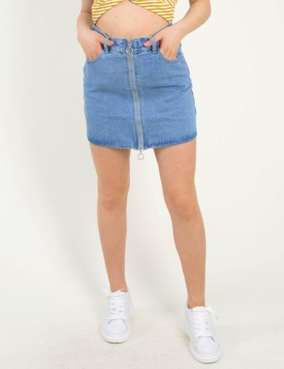 4694250668ed Γυναικεία χλώριο τζιν φούστα με φερμουάρ και κρίκους ITA9043
