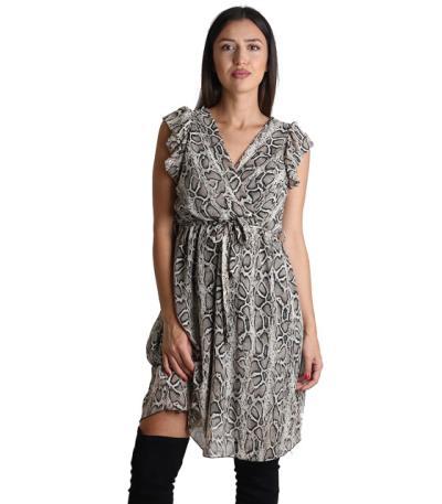 15968b49bbf2 Φόρεμα κρουαζέ με ζώνη και βολάν (Φιδίσιο)