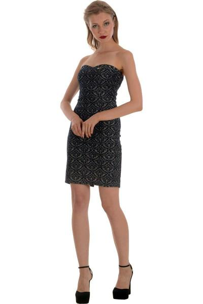 3105211d17b5 Μίνι στράπλες ζακάρ φόρεμα Bellino - Μπλε