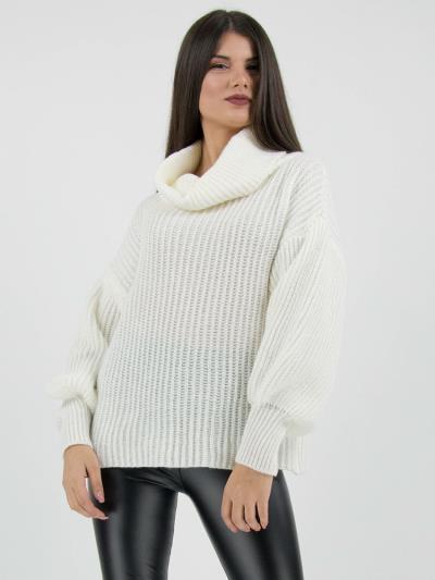 6c65fd439d44 Πλεκτό πουλόβερ ζιβάγκο άσπρο