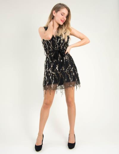 42d1ebc8bb47 Γυναικείο μαύρο κρουαζέ φόρεμα τούλι παγιέτες Coocu 91891