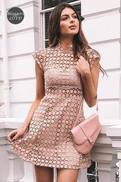 df4d4c61c8fd cute crochet δαντέλα salmon nude mini φόρεμα petite