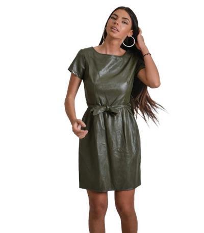 Χακί φόρεμα δερματίνη με ζώνη στην μέση 2f936189d85