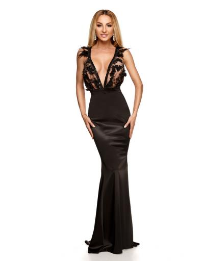 bb4443f79525 9215 RO Μάξι σατέν φόρεμα με πούπουλα και παγιέτες - Μαύρο