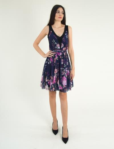83fdc909ad62 Γυναικείο μπλε φλοράλ αμάνικο φόρεμα κλος τούλι 8316275G