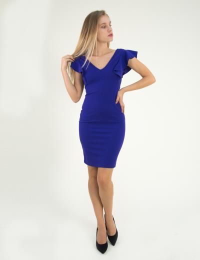 995c45a95b63 Γυναικείο μωβ μονόχρωμο Scuba φόρεμα βολάν 8295129B