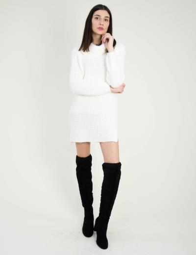 854dab43047d Γυναικείο λευκό πλεκτό φόρεμα με ζιβάγκο 8826B