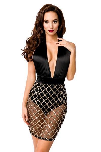 92120420ae8a 8543 AX Σέξυ μίνι φόρεμα με διαφάνεια και παγιέτες - μαύρο χρυσό