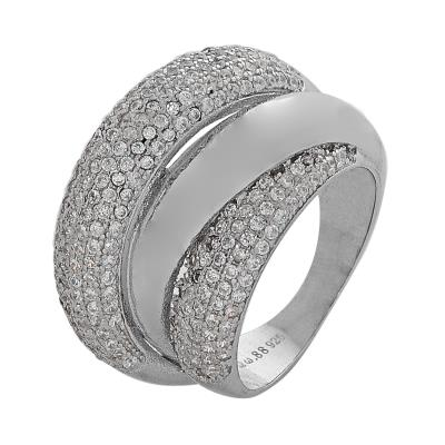 Ασημένιο δαχτυλίδι DS RG679 3 σειρές σε ασημί χρώμα με λευκά ζιργκόν έως 6  άτοκε 15bd8d5dfb1