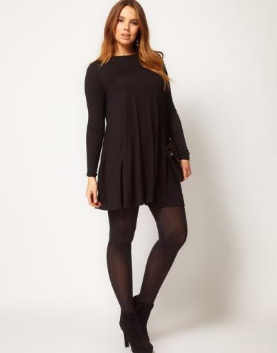 60a8cdf44ebd plus size basic φόρεμα swing τουνίκ σε μαύρο