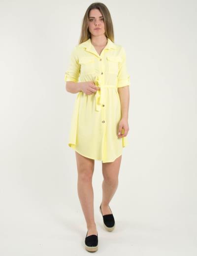 5a17826e71c2 Γυναικείο κίτρινο ανοιχτό πουκαμισοφόρεμα χρυσά κουμπιά 5005Y