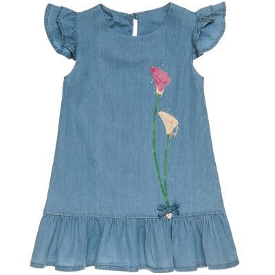 Φόρεμα τζιν με βολάν μανίκια και τύπωμα λουλούδια (6-14 ετών) 00941647 ΤΖΙΝ 5ff619717fb