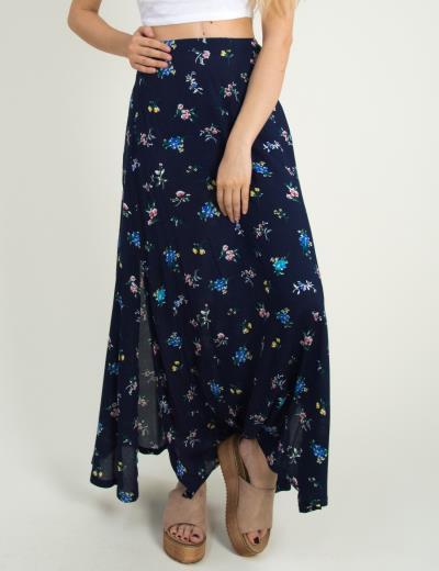 0d6932ff984a Γυναικεία μπλε φλοράλ μάξι φούστα Coocu ανοίγματα 17672C