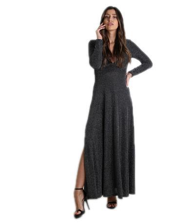 Φόρεμα μάξι με ανοιχτό ντεκολτέ και επένδυση (Ασημί) 81e20dbebae