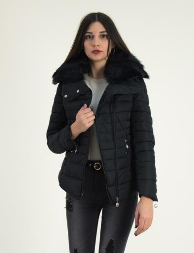 a0af5cdb00c6 Γυναικείο μαύρο καπιτονέ μπουφάν με γούνα CH3809C