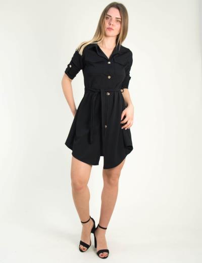 e60124587e4b Γυναικείο μαύρο πουκαμισοφόρεμα με χρυσά κουμπιά 5005C